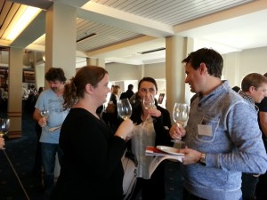 Customers try new releases and talk to the winemakers
