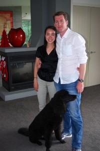 Sarah Heller & her fiancé Warwick arrive for a wine tasting.